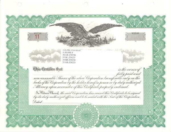 Standard Certificates Samples – Stock Share Certificate Template