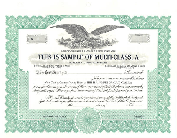 Special Text and Blank Certificates for Stock, Ownership and Awards