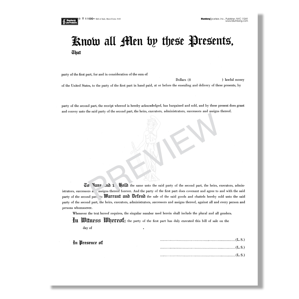 blumberg bill of sale forms