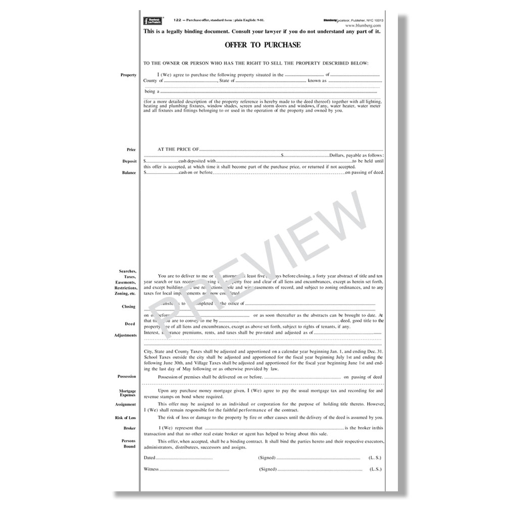 Blumberg New York Real Estate Contract Forms - Real estate sales contract template