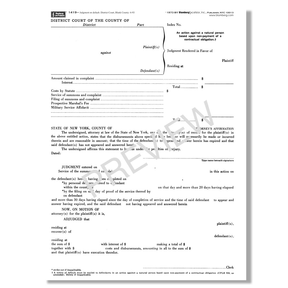 Blumberg New York Judgment Forms