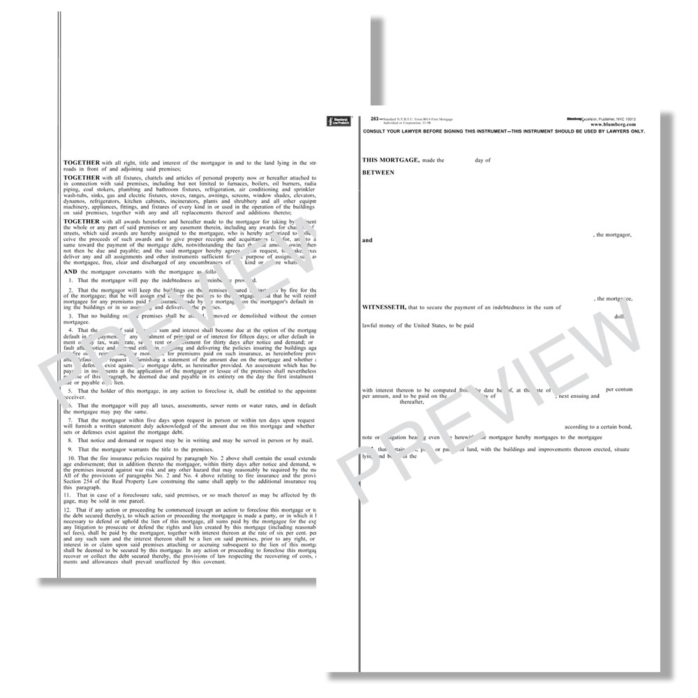 Blumberg New York Mortgage Real Estate Forms