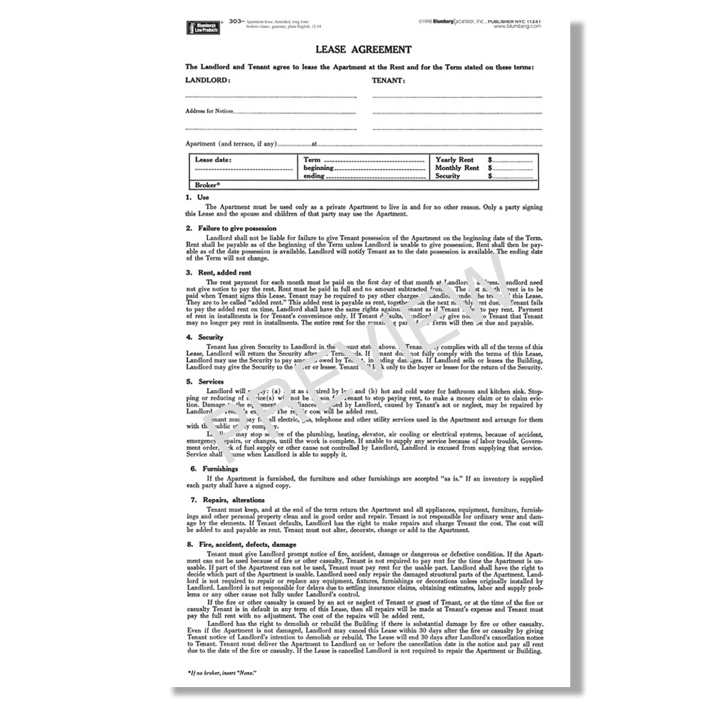 Rent Controlled Apartment: New York Residential Lease Forms