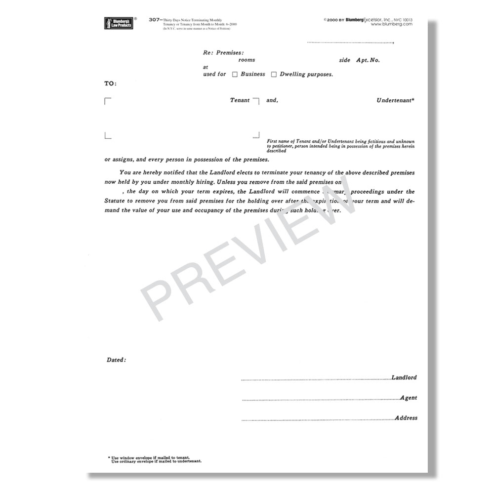 New York Notice To Tenant Forms