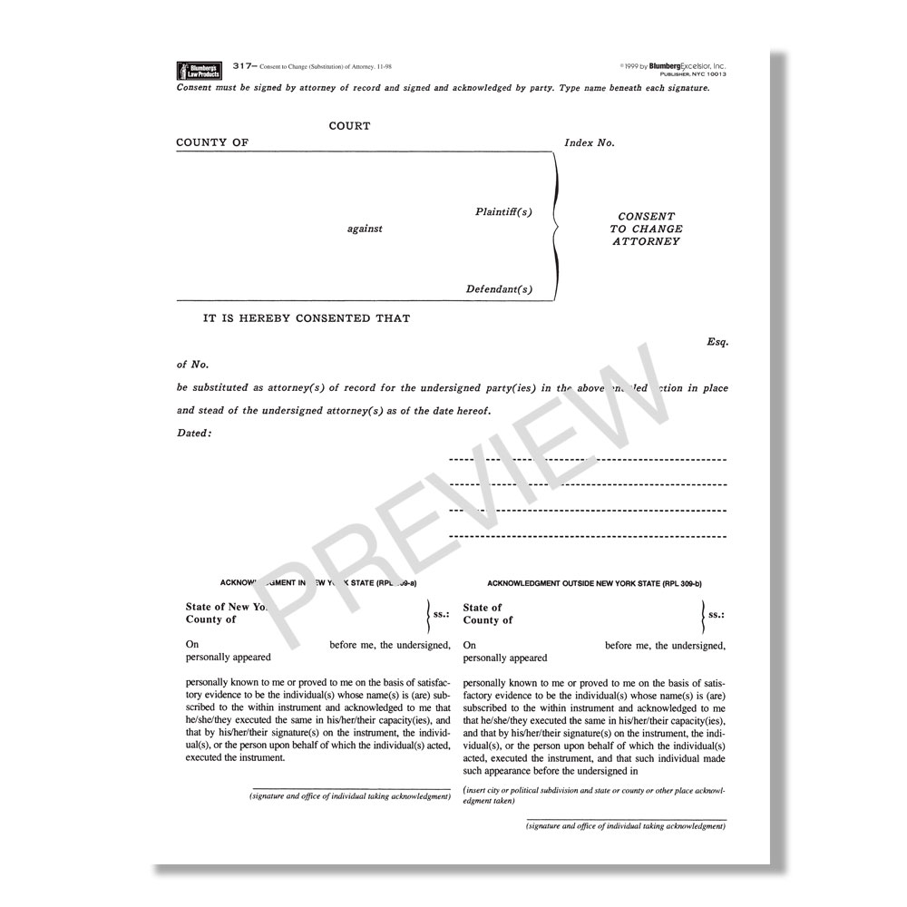 NY Consent To Change Substitution Of Attorney Form