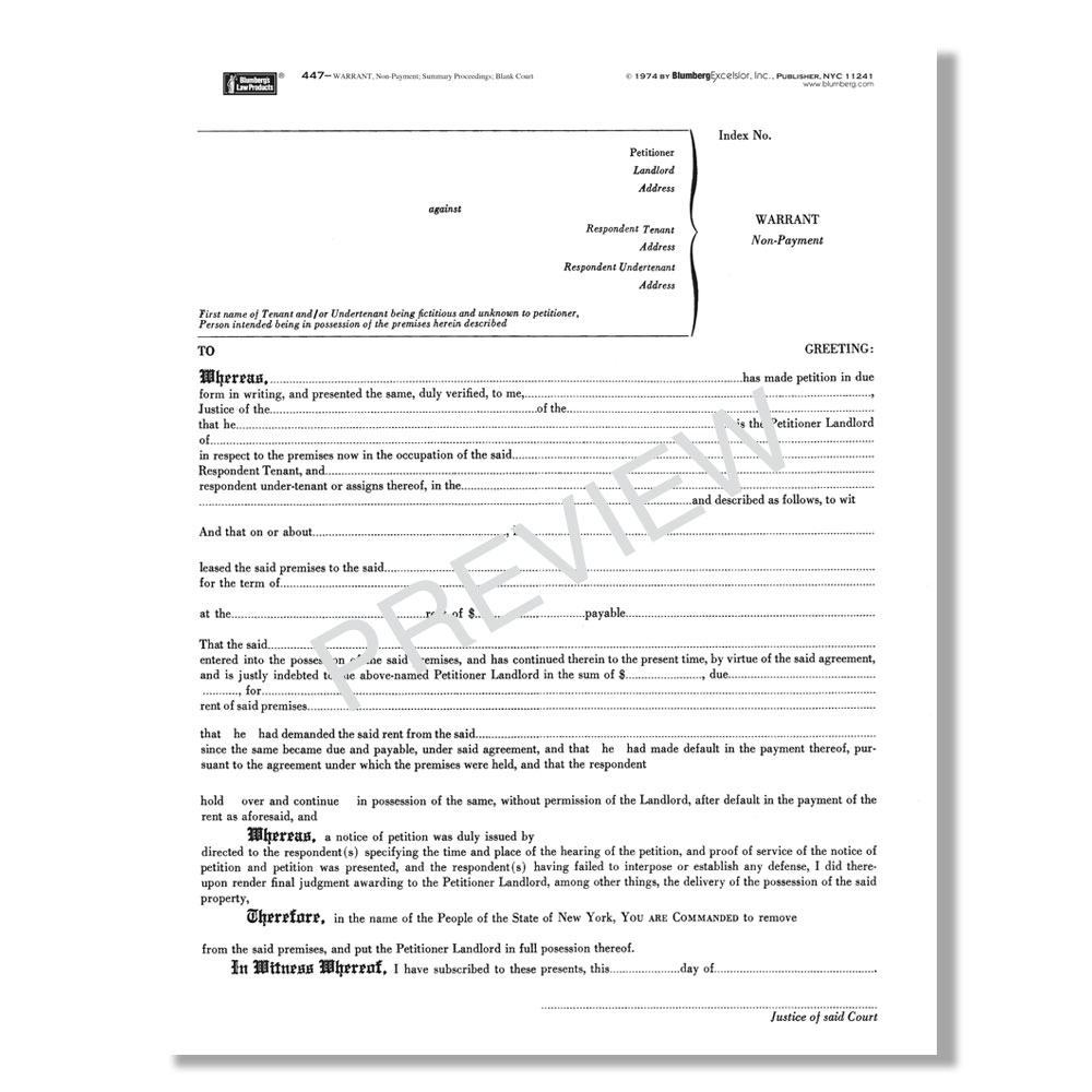 Blumberg New York Summary Proceedings Forms