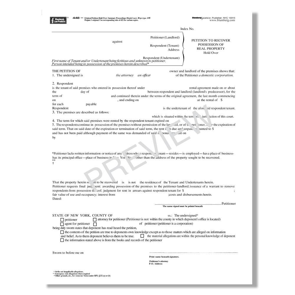 New York Non-Payment of Rent Holdover Forms