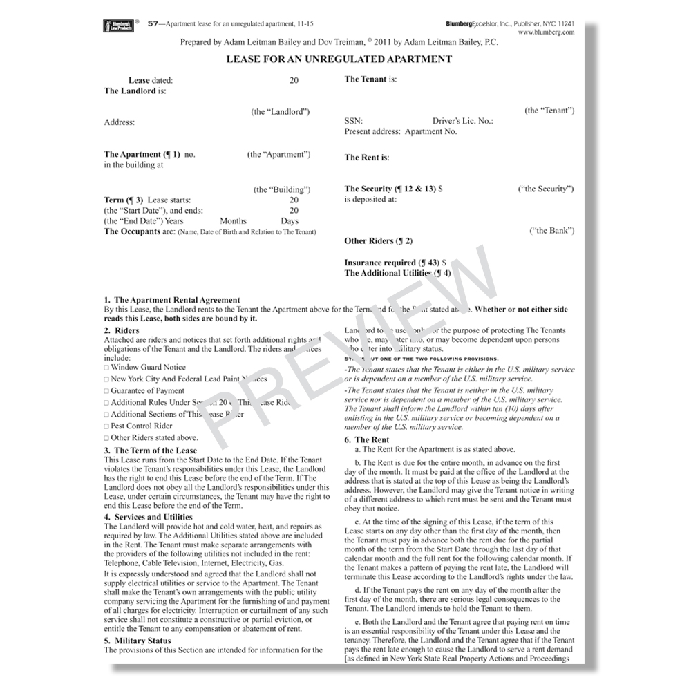 Blumberg Lease - Unregulated apartment lease