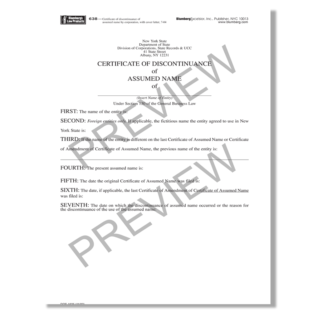 Blumberg Form x201 New York Business Certificate DBA Form