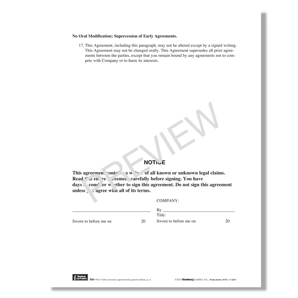 Blumberg New York Severance Agreement Form
