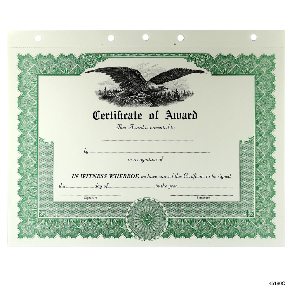 Blank Award and Achievement Certificates and Certificates of ...