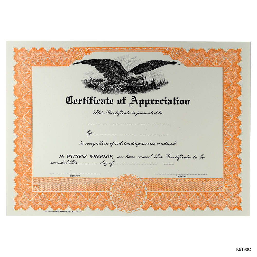 Orange Printable Blank Certificate Of Appreciation  Printable Certificates Of Achievement