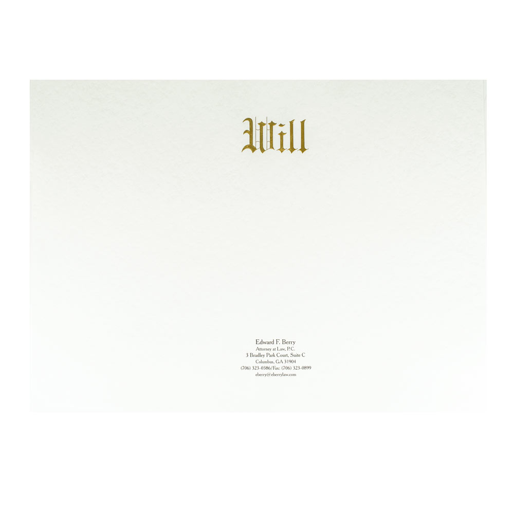 Will Envelope Engraved with Gold Ink