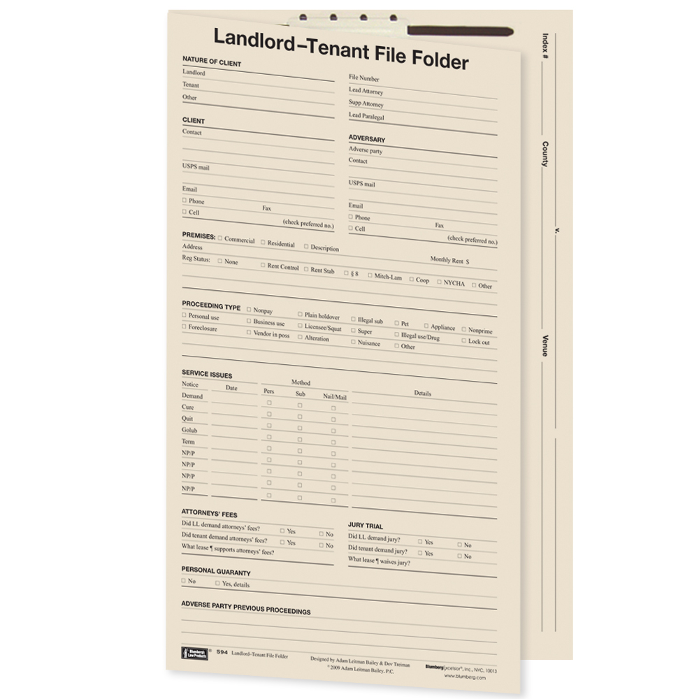 Landlord and Tenant Case File Folders
