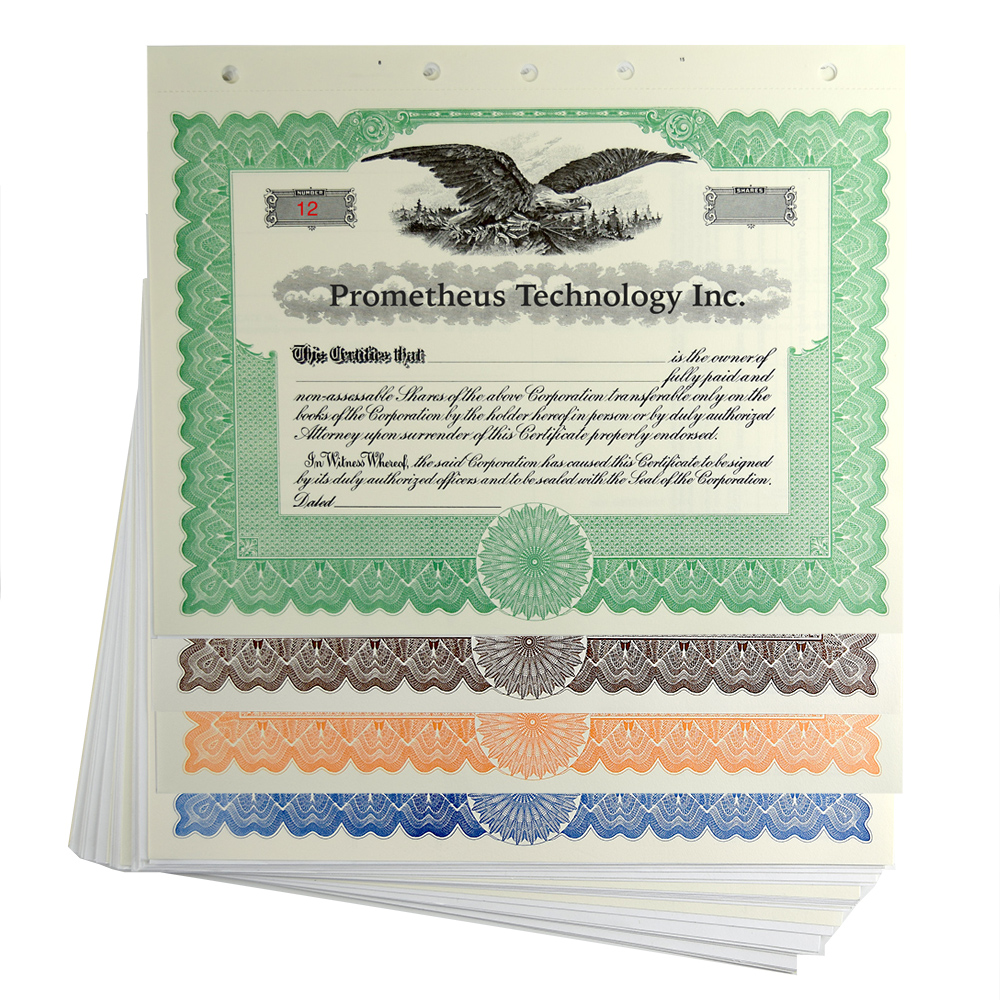 blank stock certificates loose
