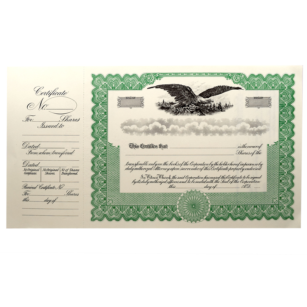 Blank Legal Size Corporation Certificates – Blank Share Certificate