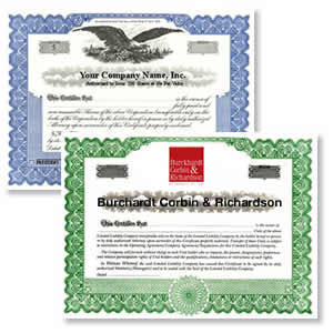 Stock options certificate