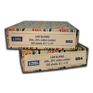 Law Blanks Boxed Paper
