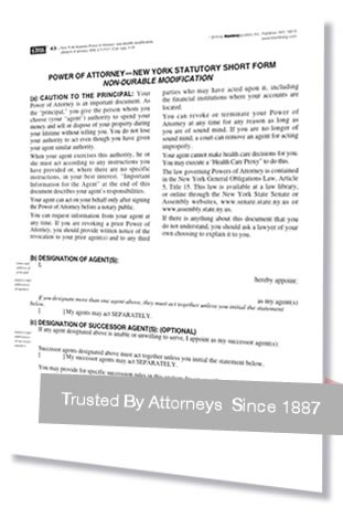 New York Power of Attorney Forms and NY Affidavit of Attorney