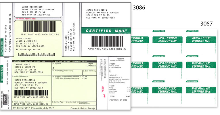 certified mail labels and forms